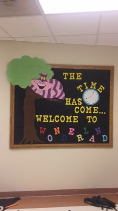 Alice in wonderland RA welcome bulletin board