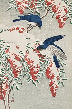"Japanese Art Print ""Bush and Fly Catchers in Snow (Setchu Nanten ni Ruricho)"" by Ohara Koson. Shin Hanga and Art Reproductions http://www.amazon.com/dp/B016W1C6X4/ref=cm_sw_r_pi_dp_3Bctwb1KSZGF7"