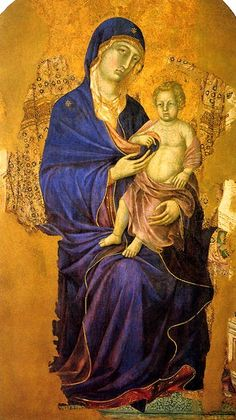 ''Duccio di Buoninsegna, Madonna and Child (Maestà), ca. 1311-1324, Cattedrale di San Cerbone''. The Virgin's wonderful ultramarine (lapis lazuli) drapery is particularly sensitively painted. Such images were designed to encourage veneration.