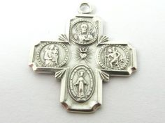 Beautiful Religious Miraculous Medal Sterling Cross Charm Pendant 3.3g RC0077