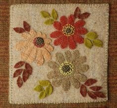 """Wool applique PATTERN """"Fall is Coming"""" wall hanging penny rug autumn flowers hand dyed rug hooking wool felt primitive quilt block quilting Wool Applique Patterns, Felt Applique, Felt Patterns, Penny Rugs, Felted Wool Crafts, Felt Crafts, Wooly Bully, Primitive Quilts, Wool Quilts"""