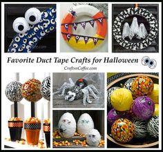 Fun & easy Halloween crafts made with duct tape and Styrofoam brand foam. CraftsnCoffee.com.