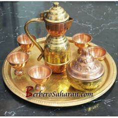 Medium Copper alloy hand engraved Tea Set from Algeria