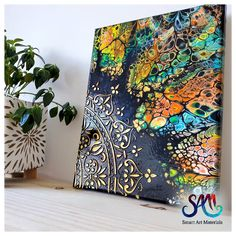 Acrylic Pouring Art, Acrylic Painting Techniques, Painting Tutorials, Art Techniques, Pour Painting, Painting Canvas, Acrylic Art Paintings, Home Decor Paintings, Stencil Art