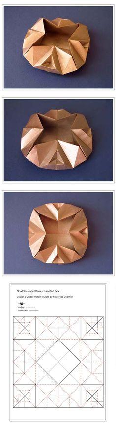 Origami: Scatola sfaccettata - Faceted box. Designed and folded by Francesco Guarnieri, June 2015. Crease Pattern: http://guarnieri-origami.blogspot.it/2015/07/scatola-sfaccettata-faceted-box.html