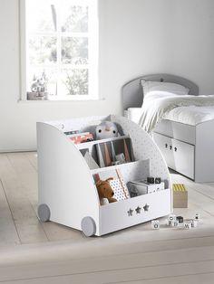 Bibliothèque à roulettes LIGNE SIRIUS blanc/gris - Vertbaudet