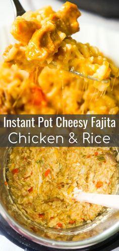 Instant Pot Cheesy Fajita Chicken and Rice is a delicious pressure cooker chicken thigh recipe loaded with peppers and fajita seasoning. #fajitarice