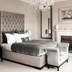 Bedroom ideas. A little to fancy for me, but love the color palette