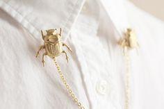 Broches de latón escarabajo Collar