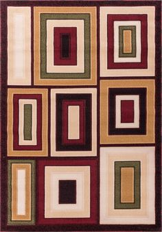 Dulcet Structure Brown Geometric Area Rug