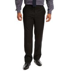 Verno Men's and Viscose Slim Fit Flat-front Dress Pants