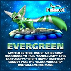 Evergreen OOAK Fennux - auctioned off for charity.  The coat does not pass just like all the other fennux limited editions.