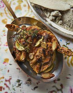Poulet boucané revisité et igname en croûte de sel