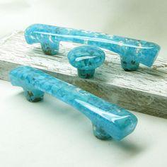 Aqua Drawer Pull or Cabinet Handle in Rainbow Iridescent - Custom ...