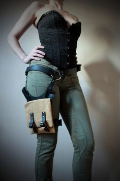 Unisex Thigh Holster Bag  Black/Brown Canvas  steampunk by Vontoon, £65.00