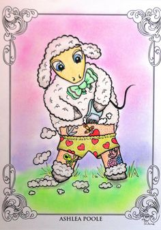 The Coloring Book Project 2nd Edition -  Ashlea Poole Design - Sheep-Shearing  Coloured with Derwent Coloursoft