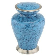 Marbled Turquoise Cremation Urn for Ashes | Metal Cremation Urns