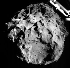 This image of comet 67P/Churyumov–Gerasimenko was taken by the Philae lander of the European Space Agency's Rosetta mission during Philae's descent toward the comet on Nov. 12, 2014. Philae's ROLIS camera took the image from a distance of approximately two miles (three kilometers) from the surface. Image from Rosetta