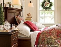 Stylish Christmas Bedroom Decorating Ideas - wreath c/ornament on the center windows master bedroom