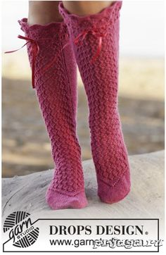 """Pernilla - Knitted DROPS socks with lace pattern in """"Fabel"""". - Free pattern by DROPS Design Crochet Socks, Knitting Socks, Crochet Clothes, Knit Crochet, Drops Design, Knitting Patterns Free, Free Knitting, Free Pattern, Crochet Patterns"""