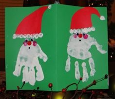 Homemade Handprint Holiday Card from the Kids