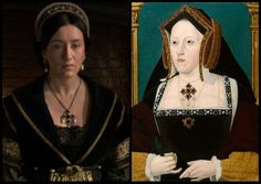 The character of Queen Katharine from 'The Tudors' is wearing a pendant inspired by actual jewelley worn by Katharine of Aragon.