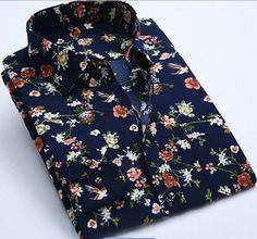 Brand Print Men Shirt Long-sleeve Shirt Slim Fit Casual Shirts Fashion Men's Clothing Casual Camisa Masculina Floral Dress Shirt