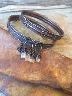 rustic oxidized copper bracelets by Studio Luna Verde
