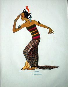 1925 Antique Colour Plate of a Javanese Dancer Performing a Srimpi Dance. Bali Painting, Surakarta, Indonesian Art, Dance Paintings, Javanese, Vietnam, Indie, Art Forms, Vintage Posters