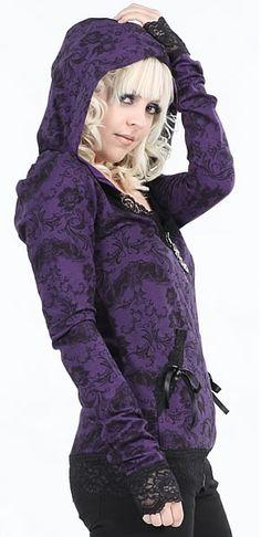 Lip Service Purple Lace Hoodie Bats and Bones Collection