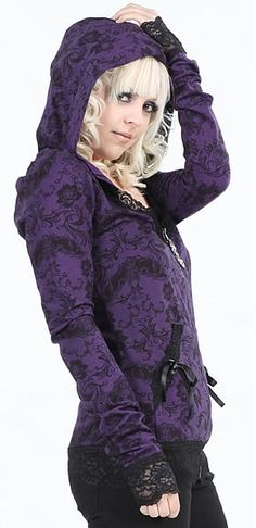 Lip Service Purple Lace Hoodie  Bats and Bones Collection