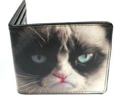 Grumpy Cat - Face Closeup Frowning Leather Bi-Fold Wallet. #GrumpyCat #Accessories