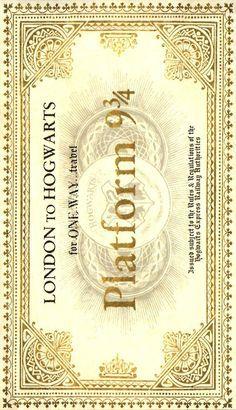 Harry Potter - Bilhete Expresso de Hogwarts