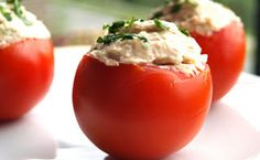 Stuffed Tomatoes tapas: This one is a simple recipe, very handy when preparing a barbeque or a picnic party. Tomatoes here are used as a container for a delicious Spanish stuffing. Tapas Recipes, Crab Recipes, Appetizer Recipes, Cooking Recipes, Appetizers, Healthy Snacks, Healthy Eating, Healthy Recipes, Easy Recipes