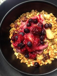 The Pantry - Melbourne Cafe, Restaurant Bircher muesli with poached apple, pear, rhubarb and apricot, cranberry granola, berry compote Breakfast, cafe, healthy living