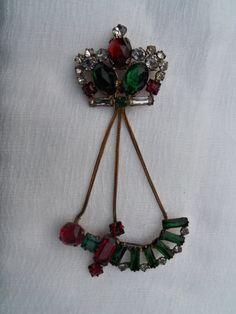 Antique Crown Brooch Brass Chain Emerald Ruby Diamond by berryetsy, $78.00