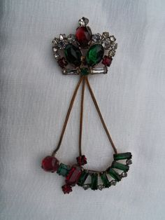 Antique Crown Brooch Brass Chain Emerald Ruby Diamond by berryetsy, $78.00