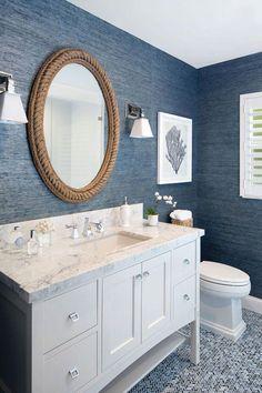 Bathroom Decor blue Rope Decor: 10 Cottage Decorating Ideas - rope mirror - gorgeous coastal style bathroom with navy wallpaper Beach House Bathroom, Beach Bathrooms, Beach House Decor, Navy Bathroom, Small Bathroom, Blue Bathrooms, Mirror In Bathroom, Beach Style Bedroom Decor, Beach House Interiors