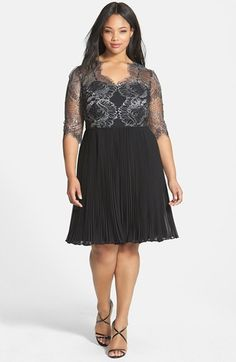 Free shipping and returns on Adrianna Papell Lace Overlay Pleated Cocktail Dress (Plus Size) at Nordstrom.com. Sheer silvery lace adds romantic shimmer as it wraps the sweetheart-neckline bodice of a lovely cocktail dress. An inset waist defines the figure before a multitude of teensy pleats flares the chiffon skirt.