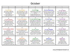 october Preschool Lesson Plans, Preschool Curriculum, Preschool Activities, Preschool Alphabet, Kindergarten, Montessori Classroom, Preschool Learning, Physical Activities, Daycare Themes