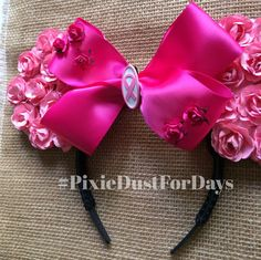 Pink Mickey Ears, pink Minnie Ears, Awareness Minnie Ears, Breast Cancer Awareness by PixieDustForDays on Etsy https://www.etsy.com/listing/229320199/pink-mickey-ears-pink-minnie-ears