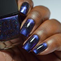 Navy Blue Nails, Blue Glitter Nails, Metallic Nails, Black Nails, Crazy Nail Designs, Nail Art Designs, Nails Design, Simple Acrylic Nails, Best Acrylic Nails