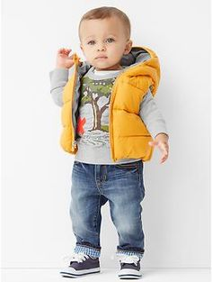 Still a while away, but this is the cutest little outfit ever! | Warmest hooded puffer vest @ Gap
