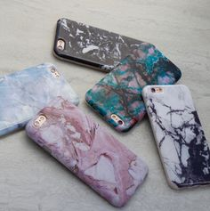 Marble Case in Rose, Teal, Contrast Black & White, Black & Hampton Blue. Available for iPhone 6/6s & 6 Plus/6s Plus from Elemental Cases