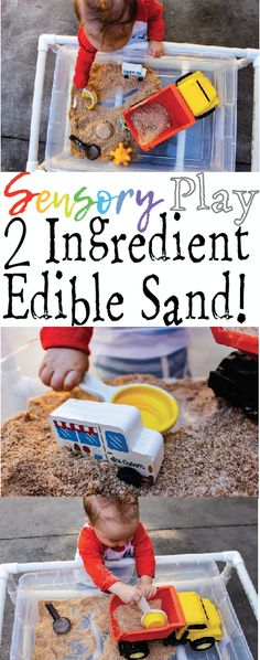 Sensory Play: 2 ingredient Edible Sand for babies and toddlers. No sugar, no salt, no blender required!