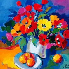 Isabel le Roux - South African Artist: Still Life Gallery Colorful Paintings, Floral Paintings, Acrylic Paintings, Flower Artists, South African Artists, Africa Art, Painting Gallery, Arte Pop, Naive Art