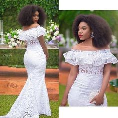White Mermaid Black Girl African Girl Prom Dresses Off The Shoulder Lace Evening Formal Gowns Vestid on Luulla African Lace Styles, African Lace Dresses, African Wedding Dress, Latest African Fashion Dresses, Ankara Styles, Prom Girl Dresses, Wedding Dresses, Modest Wedding, Boho Wedding