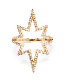 ROSA DE LA CRUZ - 18k Yellow Gold and Diamond Starburst Ring