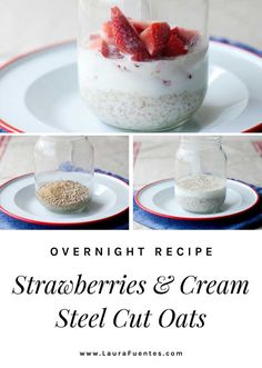 These strawberry overnight steel cut oats are hearty, filling, and the easy recipe has 3 simple ingredients. Measure, mix, and refrigerate! Oats Recipes, Real Food Recipes, Snack Recipes, Snacks, Steel Cut Oats, Gluten Free Breakfasts, Easy Food To Make, Strawberry Recipes, Breakfast Dishes