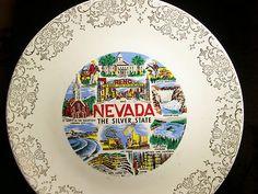 Vintage Reno Nevada Silver State Collector Porcelain Souvenir Plate Gold Trim  $1.50